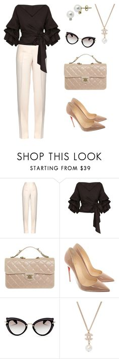 """Business chic"" by murielle-augustin on Polyvore featuring Jil Sander, Chanel, Christian Louboutin, Miu Miu and Lord & Taylor"