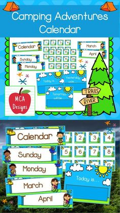 """This camping themed calendar set is part of my Camping Adventures Classroom Decor collection. Each calendar piece is accented with bright colors and camping themed graphics ! This set includes: 12 monthly tags 7 weekday tags 7 weekday headers 31 square number tags 1 """"Yesterday Was"""" poster 1 """"Today Is"""" poster 1 """"Tomorrow Will Be"""" poster #teacherspayteachers #tpt #calendar Classroom Layout, 2nd Grade Classroom, Classroom Decor, School Resources, Learning Resources, Classroom Resources, Teacher Resources, Teacher Tools, Teacher Pay Teachers"""