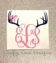 Monogrammed Antlers w/ Bow Decal by CraftyCuteDesignsNC on Etsy Little Mac, Car Decals, Truck Stickers, Vinyl Projects, My Ride, My New Room, Girl Nursery, Nursery Room, Signs
