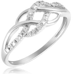 $24.99 - 1/10 Carat Diamond Sterling Silver Criss-Cross Dual Row Ring