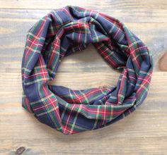 Red Navy Yellow and Green Plaid Flannel Infinity Scarf by KutKloth