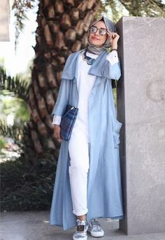 blue abaya with sneakers