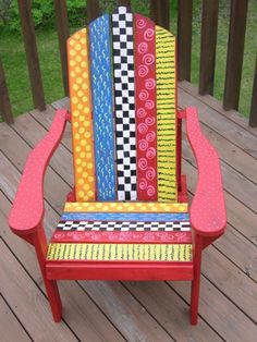Funky folk art chair I painted for the Library Foundation Fundraiser Auction
