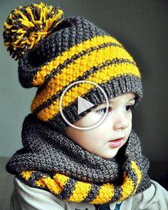 Ideas knitting scarf for kids inspiration - Knit Hat Rib Stitch Knitting, Knitting Wool, Baby Knitting, Crochet Beanie, Crochet Baby, Knit Crochet, Knitted Hats Kids, Knitting For Kids, Diy Crafts Knitting