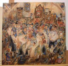 Simchat Torah Oil Painting By Shoshannah Brombacher | absolutearts.com Artist Portfolio Website, Simchat Torah, Price Artwork, Feast Of Tabernacles, Photography Themes, Jewish Art, Contemporary Artists, Art History, Original Artwork