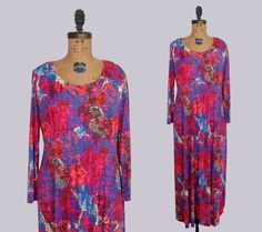 1970s abstract print maxi gown