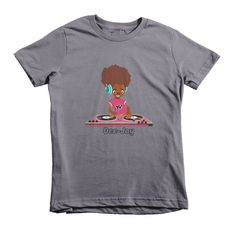 Yo yo yo this is the Hip Hop DJ B-Girl cartoon character T-Shirt for kids available for ages 2 - 6 years old. This is a cool children's t-shirt designed on American Apparel high quality tees. It's a h
