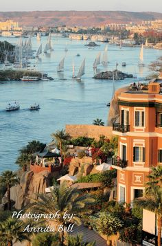 """The Nile at Aswan, Egypt My husband took me here for my birthday. The Old Cattaract Hotel where Agatha Christie wrote """"Death on the Nile"""". It is in one of my favorite spots in the world."""