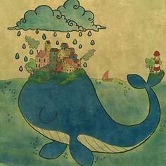 """Instagram photo by robymgr - """"Living on a whale """" #illustration#art#drawing#watercolours#pencils#colours#freehand#paper#pen#whale#sea#island#rain#village#illustrazioni#balena#villaggio#arte#disegno#faro#pioggia#pastelli#picture#draw#love#imagination#dream#traditionalart"""