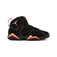 Air Jordan 7 (VII) Retro Black Citrus Varsity Red ? liked on Polyvore featuring shoes, jordans, sneakers and air jordan