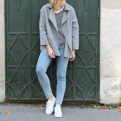 tifmys - Cos striped shirt, Zara jacket, Cheap Monday skinnies and Adidas Superstar sneakers.