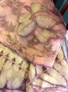 Natural dying and printing with leaves...eco prints on silk scarves