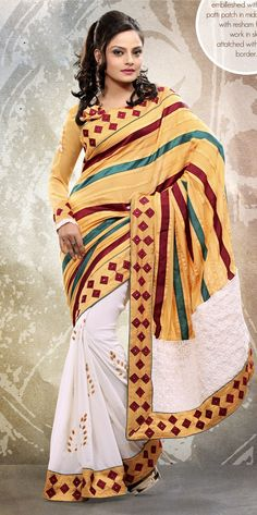 Mesmerizing Ivory & Gold Color Embroidered Saree @ $74.83 <3 Buy Now - http://www.gravity-fashion.com/10232--elite-pink-embroidered-pure-chiffon-saree.html <3