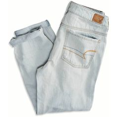 American Eagle Outfitters Boy Jeans Crop ($15) ❤ liked on Polyvore featuring jeans, pants, bottoms, cropped jeans, ripped jeans, distressing jeans, bleached distressed jeans and relaxed jeans