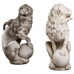 Pair of 17th Century Carved Marble Lions | From a unique collection of antique and modern statues at https://www.1stdibs.com/furniture/building-garden/statues/