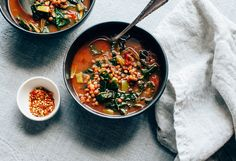 With soaked French lentils, and a delicious tomato sauce, you can make the easiest lentil and greens soup imaginable. Instant coziness and nourishment!