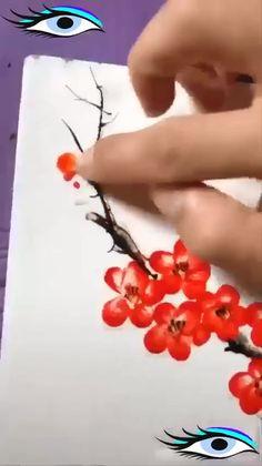Flower Painting Canvas, Diy Canvas Art, Diy Painting, Finger Art, Finger Paint Art, Art Drawings Sketches Simple, Diy Art, Art Work, Link