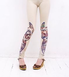 beige leggings with tribal print Beige Leggings, Tribal Animals, Tribal Prints, Screen Printing, Print Design, Unique, Fabric, Pattern, Handmade