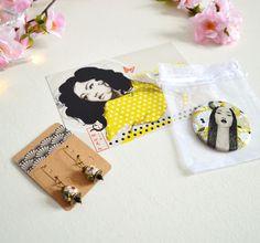 Cadeau femme : Boucles d'oreille, miroir de poche et carte postale geisha tons or et noir. : Autres accessoires par mes-tites-lilis