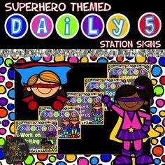 Superhero Classroom PostersDaily 5 Station Signs******************************These Superhero themed Daily 5 station signs are a perfect way to help your students know exactly where to go during their Daily 5 rotations.Included in this download are the following printables:Read to SomeoneListening to ReadingWork on WritingWork on WordsRead to Self******************************TERMS OF USE:Kelly Avery & Mrs.