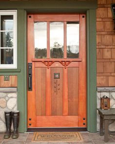 Tiny Cabin to Craftsman Bungalow - ARTS & CRAFTS HOME - The artistic front door, in old-growth Douglas fir with a wenge rose inlay, is a commission - Mission Style Homes, Craftsman Style Homes, Craftsman Bungalows, Mission Style Decorating, Craftsman Farmhouse, Unique Front Doors, Best Front Doors, Front Door Paint Colors, Painted Front Doors