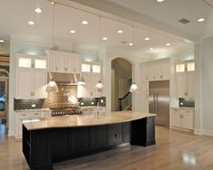 Decorating, Endearing Kitchen Design Also White Cabinets With Beige Granite Kitchen Island Countertop Also Cool Pendant Lights And Modern Ceiling Lights Also Cream Laminate Floor Color And Brown Tile Backsplash: Modern, Classic, and Luxurious White Cabinets with Granite