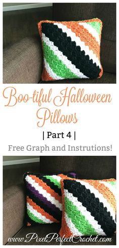 Boo-tiful Crochet Halloween Pillows. Free Corner to Corner (C2C) Crochet Graph and Instrutions.