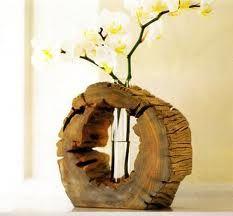 Raw wood vase