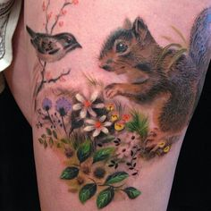 Adorable tattoo by Esther Garcia #bird #squirrel #flowers
