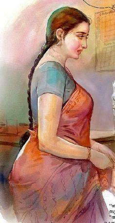 59+ trendy drawing woman curves artists Indian Women Painting, Indian Art Paintings, Sexy Painting, Woman Painting, Indian Art Gallery, Indian Drawing, Romance Art, Woman Drawing, Hindu Art