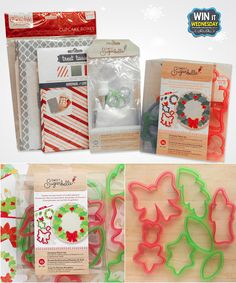 UPDATE: Congratulations to Larson TonyJessica! --- WIN-IT-WEDNESDAY Facebook PRIZE for December 7, 2016.  Participate here: https://www.facebook.com/bfranklincraftsmonroe/posts/10154143359717205. This Sweet Sugarbelle Cookie Cutter Set includes instructions and templates so they'll all be beautiful! The Piping Bag Set will make this process so much easier! The Cupcake Boxes and Treat Tissue (food grade) will make the presentation perfect for parties or school treats.