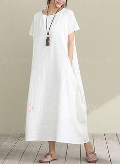 Dresses - $40.99 - Cotton Solid Short Sleeve Maxi Casual Dresses (1955129452)
