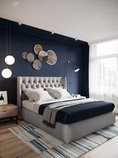 a navy accent wall is great for a contemporary bedroom, it highlights the sleepi. a navy accent wall is great for a contemporary bedroom, it highlights the sleeping zone Bedroom Colors, Home Decor Bedroom, Living Room Decor, Diy Bedroom, Wood Bedroom, Living Rooms, Apartment Living, Bedroom Curtains, Wood Headboard