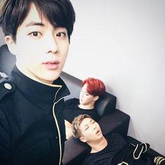 Jin with Sleepy Jimin and RapMon <3