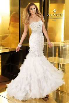 Awesome Diamond Prom Dress ALYCE Claudine 2250 Beaded Tulle Strapless Feather Gown Diamond White $1650 FREE... Check more at http://shop24.ga/fashion/diamond-prom-dress-alyce-claudine-2250-beaded-tulle-strapless-feather-gown-diamond-white-1650-free/