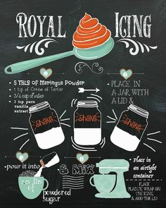 Save yourself a little time by printing this free royal icing recipe chalkboard printable. Frame it or hang it on the fridge for easy access.