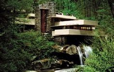 Fallingwater. Still my favourite Frank Lloyd Wright. A classic shot for my first FLW pin, the first of many Fallingwater pins on this board.