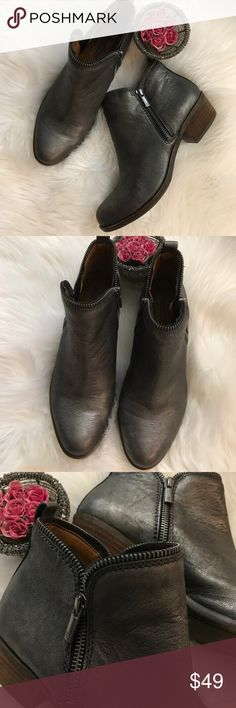 Lucky brand metallic silver pewter bootie Lucky brand Basel bootie. Gorgeous silver metallic. Edgy double zip. Fantastic condition. Worn very little. 1 & 1/2 inch heel. Lucky Brand Shoes Ankle Boots & Booties