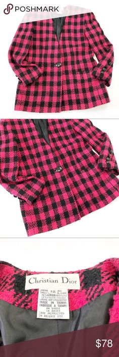Vintage Christian Dior Pink and Black Plaid Blazer Vintage Christian Dior Hot Pink and Black Plaid Blazer in size 12. Approximate measurements: length: 29 inches; bust: 17 inches. Excellent used condition. Christian Dior Jackets & Coats Blazers