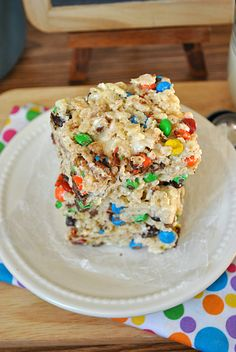 White Chocolate Rice Krispies Treats with M
