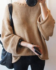 Chic Pure Color Loose Pullover Long Sleeve Sweater For Women