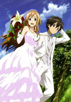 Anime Couples Sword Art Online, Asuna Kirito, official art - Post with 0 votes and 113 views. Otaku Anime, Manga Anime, Noragami, Schwertkunst Online, Online Anime, Sword Art Online Asuna, Sword Art Online Wallpaper, Anime Wedding, Kirito Asuna