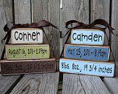 Personalized Name Stacker Baby boy girl birth family primitive blocks wood custom nursery kids room gift shower wedding
