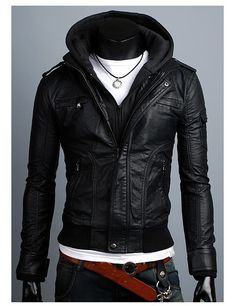 Handmade black hooded Leather Jacket men leather by Besteshop, $169.99