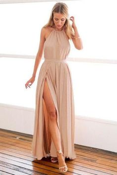 Slit dress: Simple A-line Long Halter Prom Dress with Slit Boh...