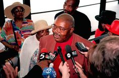 """Former 15th Ward Alderman Virgil Jones, talks with reporters on June 11, 1999, after being sentenced to 41 months in prison for extortion. Accused of pocketing seven large in bribes from a goverment mole who was working for the FBI in the Operation Silver Shovel investigation. As a Chicago police officer before elected alderman, Jones had the nickname """"Lock 'Em Up Jones."""" """"I'm writing a book titled My Skin Was My Sins: A Story of a High-Tech Lynching in Chicago."""""""