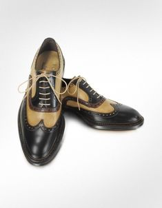 Forzieri Italian Handcrafted Two-tone Wingtip Oxford Shoes   (Featured in the opening of Boardwalk Empire)
