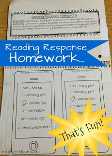 Reading Response Homework That's Fun! What a great way to handle homework...and there is a freebie too!