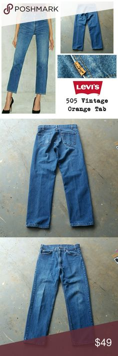 """VINTAGE LEVI'S 505 ORANGE TAB HIGH WAIST USA JEANS Vintage LEVI'S 505, orange tab, high waist jeans. Made in USA. 100% cotton.  Back waist tag is missing.  28"""" waist.  12"""" rise. 29"""" inseam. 7.5"""" across ankle. Stock photo is for style inspiration only. Levi's  Jeans"""