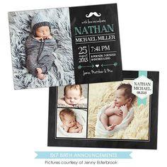 Vorlage Geburt Ankündigung - Baby Nathan - E902